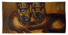 Hand Towel featuring the painting Cats Of Egypt by Randol Burns