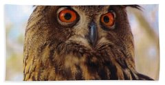Bath Towel featuring the photograph Eurasian Eagle Owl by Cynthia Guinn