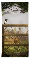Eurasian Magpie In Morning Mist Hand Towel