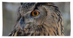 Eurasian Owl Bath Towel by Debby Pueschel
