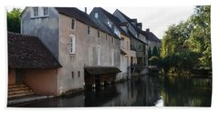 Eure River And Old Fulling Mills In Chartres Hand Towel