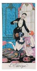 'europe' Illustration For A Calendar For 1921 Bath Towel