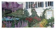 Hand Towel featuring the painting European Flower Garden by Norm Starks
