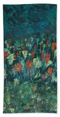 Hand Towel featuring the painting Evening Buds by Mini Arora