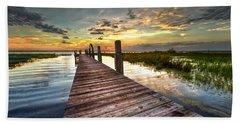 Evening Dock Hand Towel by Debra and Dave Vanderlaan
