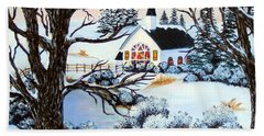 Hand Towel featuring the painting Evening Services by Barbara Griffin