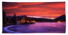 Evergreen Lake Sunrise Bath Towel