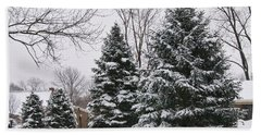 Evergreens In The Snow Bath Towel