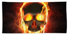 Evil Skull In Flames And Smoke Hand Towel by Johan Swanepoel