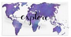 Explore World Map Painting Bath Towel