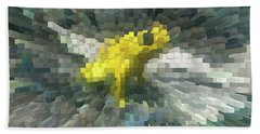 Hand Towel featuring the photograph Extrude Yellow Frog by Donna Brown