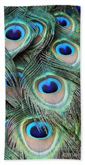 Hand Towel featuring the photograph Eye Of The Peacock #2 by Judy Whitton