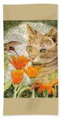 Hand Towel featuring the painting Eye To Eye by Angela Davies