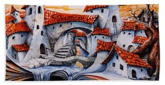 Fairy Tale City - Magic Stream Hand Towel by Emerico Imre Toth
