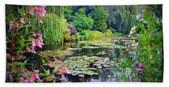 Fairy Tale Pond With Water Lilies And Willow Trees Bath Towel by Carla Parris