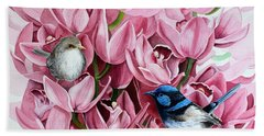 Fairy Wrens And Orchids Bath Towel