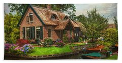 Fairytale House. Giethoorn. Venice Of The North Bath Towel by Jenny Rainbow