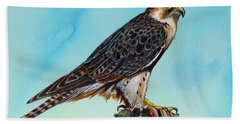 Hand Towel featuring the painting Falcon On Stump by Anthony Mwangi