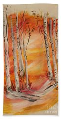 Hand Towel featuring the painting Fall Aspen On Paper by Janice Rae Pariza