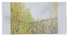 Fall Foliage And Bridge In Nh Bath Towel