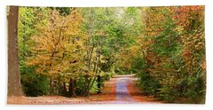 Bath Towel featuring the photograph Fall Pathway by Judy Vincent