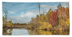 Bath Towel featuring the photograph Fall Pond by Debbie Green