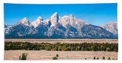 Fall Tetons Panorama   Bath Towel