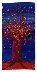 Bath Towel featuring the painting Fall Tree Fantasy By Jrr by First Star Art
