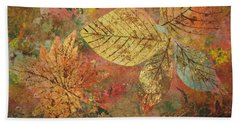 Bath Towel featuring the painting Fallen Leaves II by Ellen Levinson