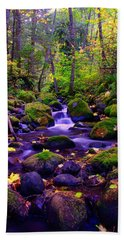 Fallen Leaves On The Rocks Hand Towel