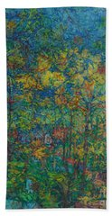 Falling Leaves Hand Towel by Anna Yurasovsky