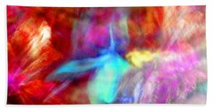 Falling Petal Abstract Red Magenta And Blue B Hand Towel by Heather Kirk