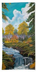 Hand Towel featuring the painting Rushing Waters  Falls  by Sharon Duguay