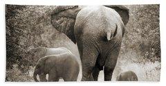 Family Of Elephants Bath Towel