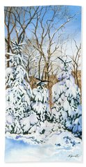 Hand Towel featuring the painting Family Of Four Trailside At 7 Springs by Barbara Jewell