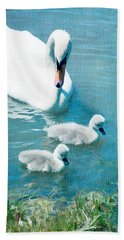 Family Of Swans At The Market Common Hand Towel