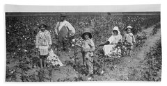 Family Picking Cotton Hand Towel