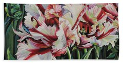 Bath Towel featuring the painting Fancy Parrot Tulips by Jane Girardot