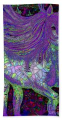 Fantasy Horse Purple Mosaic Hand Towel