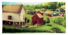 Hand Towel featuring the painting Farm by Bernadette Krupa