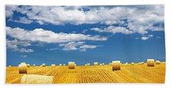 Farm Field With Hay Bales Bath Towel