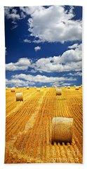 Farm Field With Hay Bales In Saskatchewan Bath Towel