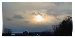 Farm In Winter's Dusk Hand Towel