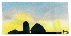 Farm Silhouette 1 Bath Towel