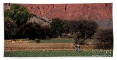 Farmer In Field In Northern Argentina Bath Towel