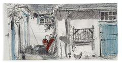 Farmyard Hens Pastel On Paper Bath Towel