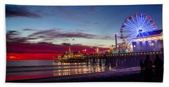 Ferris Wheel On The Santa Monica California Pier At Sunset Fine Art Photography Print Bath Towel by Jerry Cowart