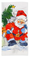 Father Christmas And Kittens, 1996  Hand Towel