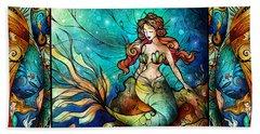 The Serene Siren Triptych Bath Towel