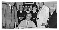 Fdr Signs Social Security Bill Hand Towel